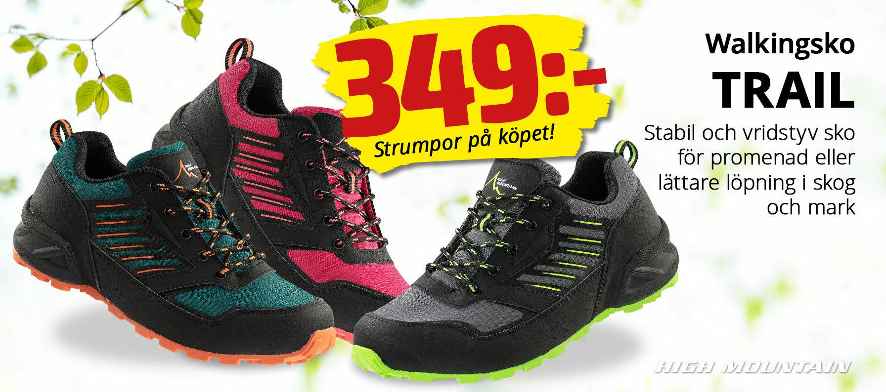 Stabil och vridstyv sko för promenader och lättare löpning i skog och mark
