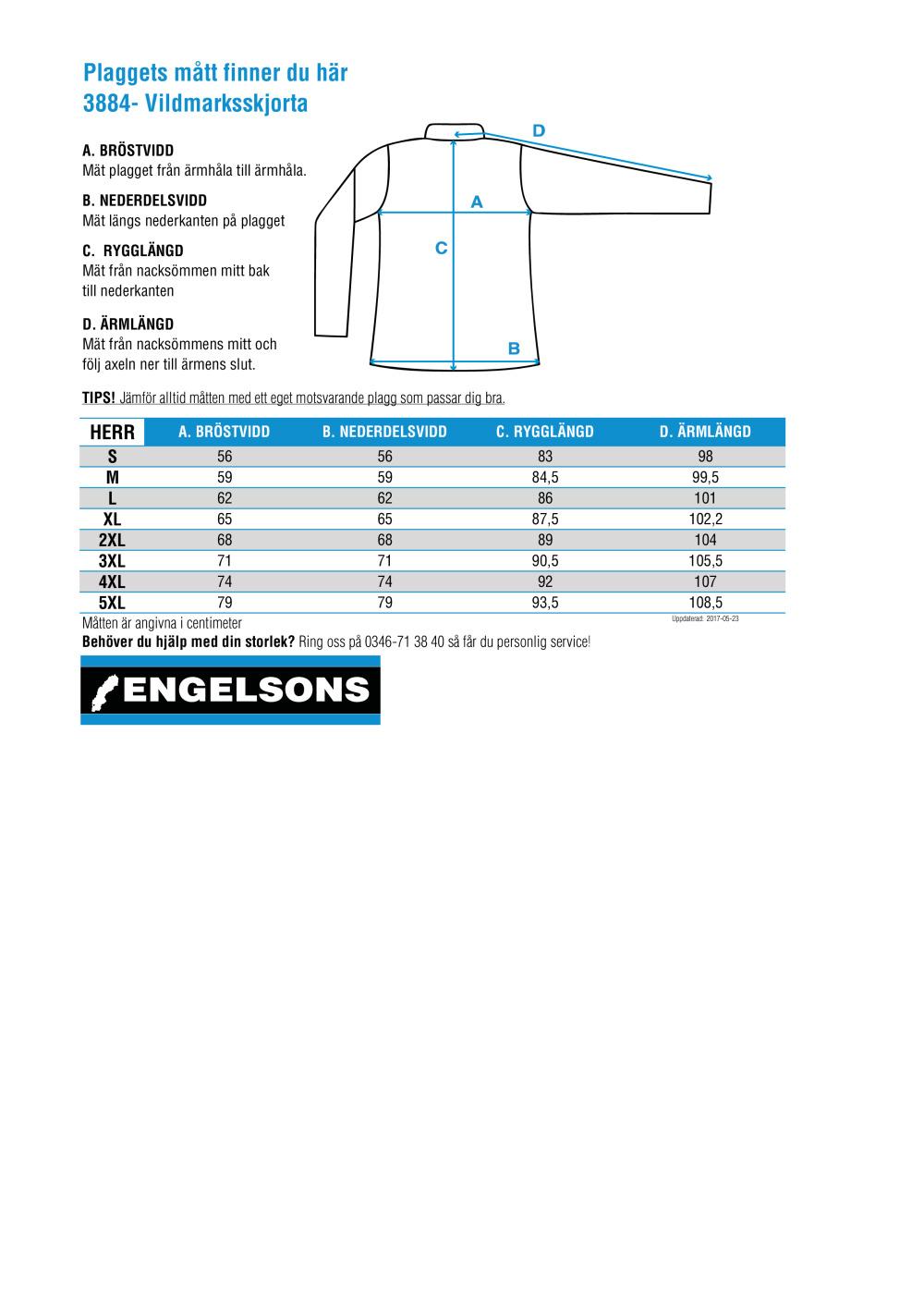 Storleksguide för Vildmarksskjorta