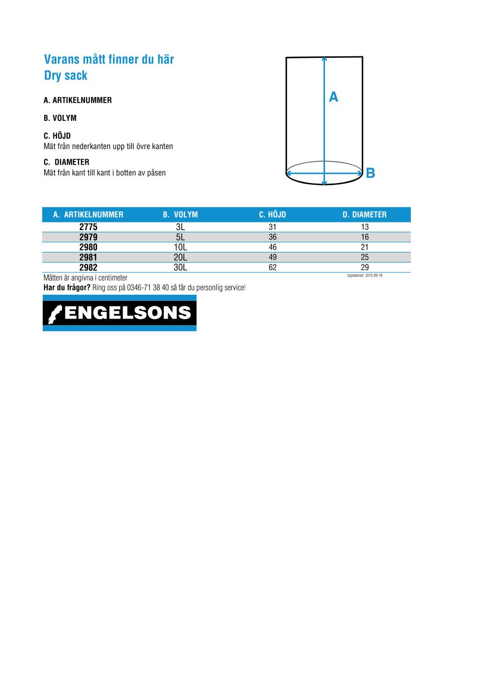 Storleksguide för Dry sack 3L Blå