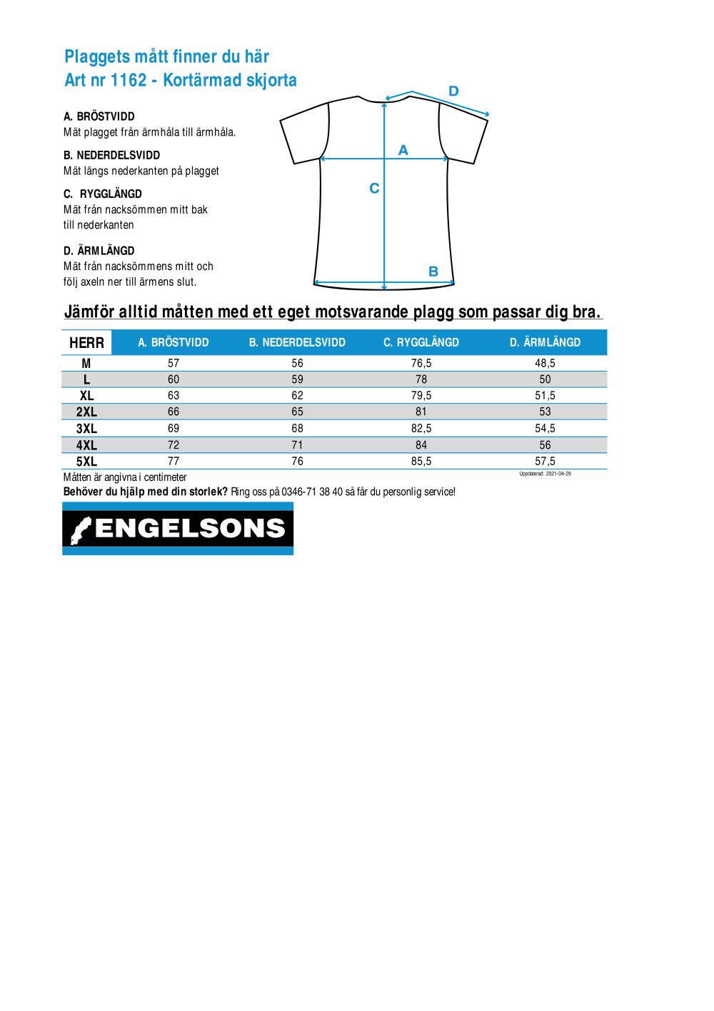 Storleksguide för Kortärmad skjorta