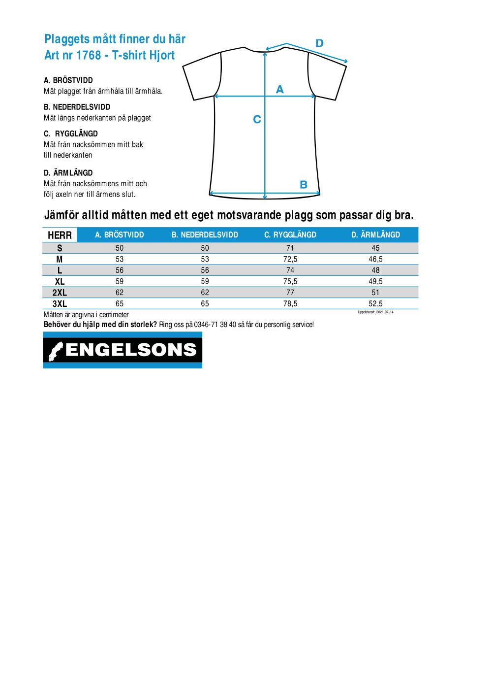 Storleksguide för T-shirt Hjort